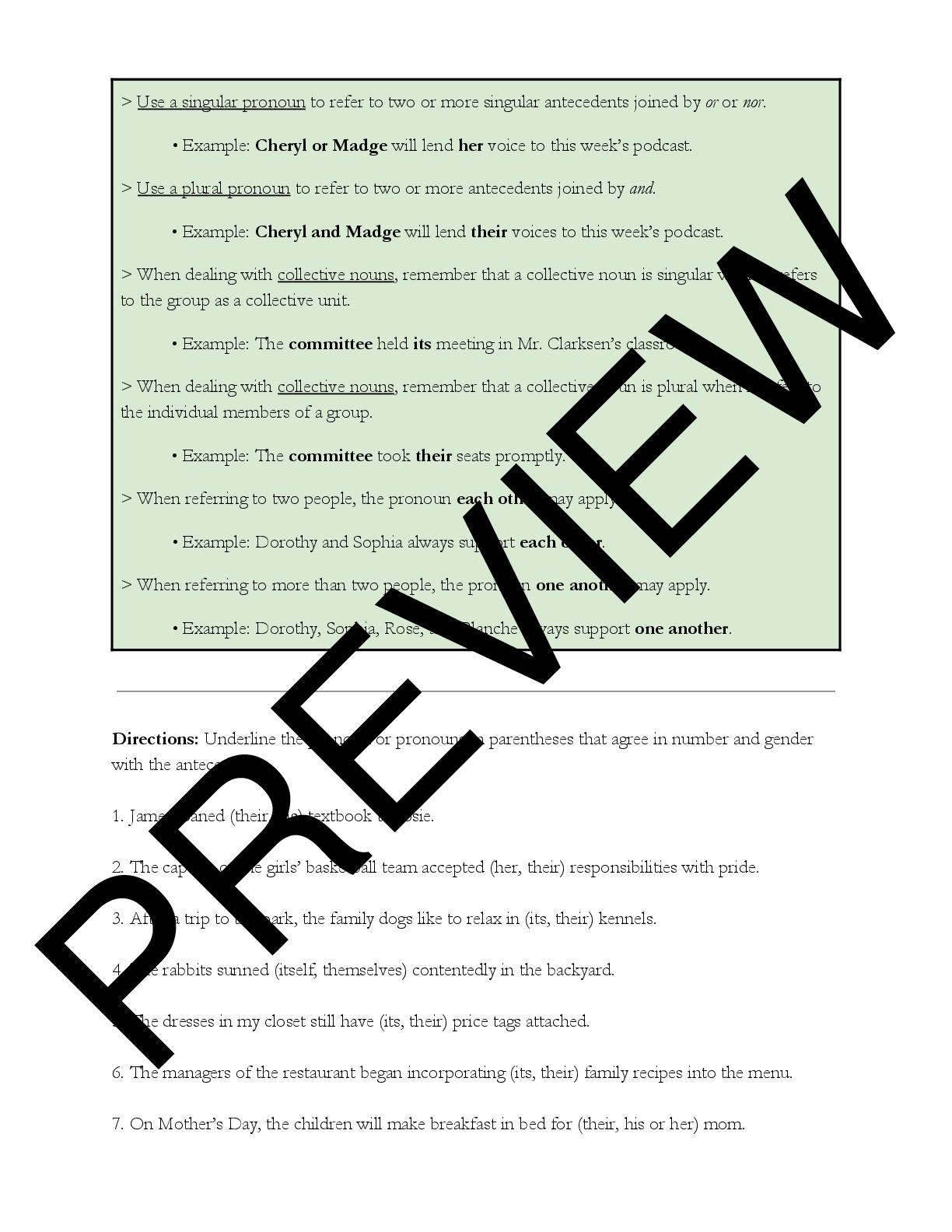 Grammar Worksheet on Pronoun-Antecedent Agreement  Teaching Resources Within Pronoun Antecedent Agreement Worksheet