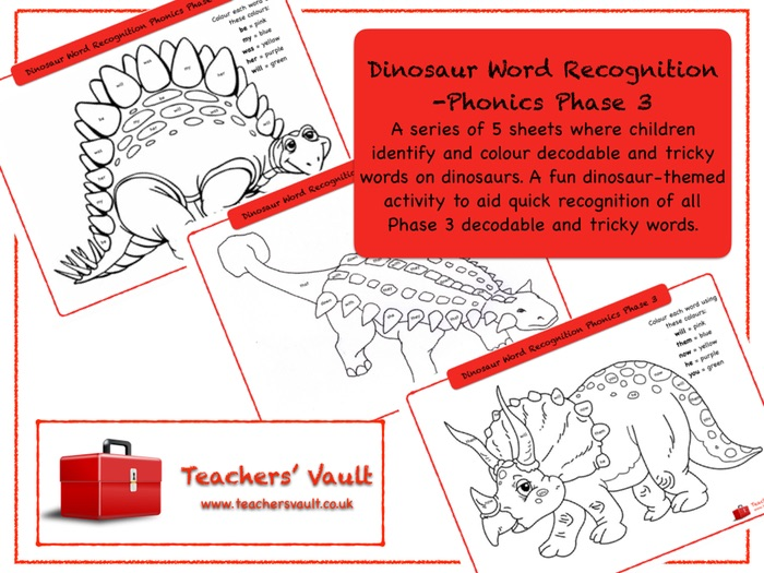 Dinosaur Word Recognition -Phonics Phase 3