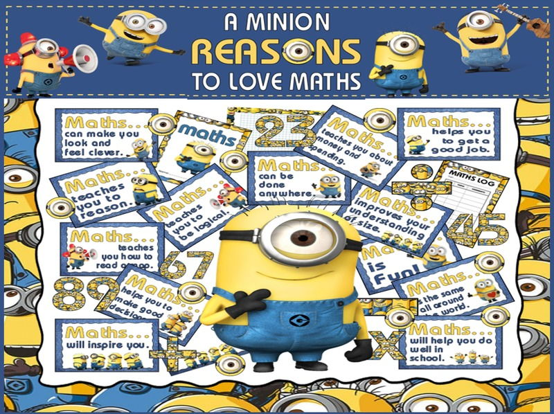 REASONS TO LOVE MATHS DISPLAY TEACHING RESOURCES EYFS KS1-KS2 MINIONS