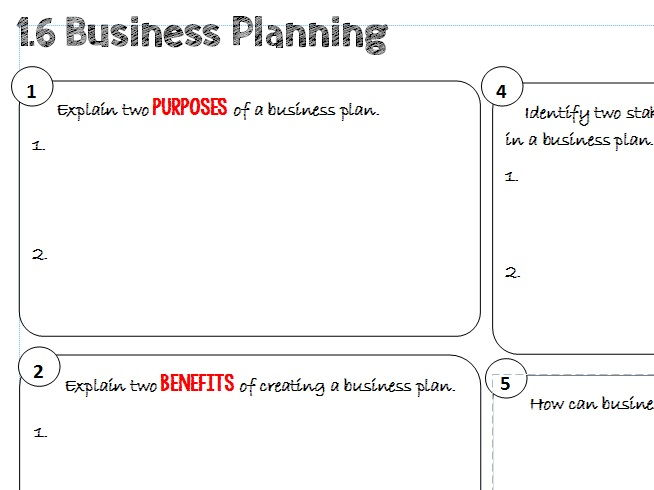 AQA GCSE Business (9-1) 1.6 Business Planning Learning Mat / Revision