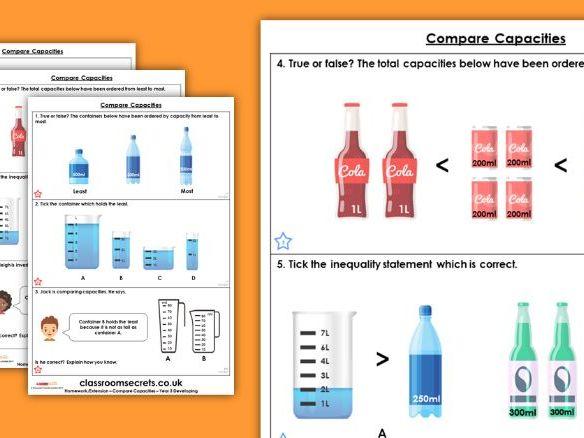 Year 3 Compare Capacities Summer Block 4 Maths Homework Extension