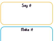 Say it, Make it, Write it