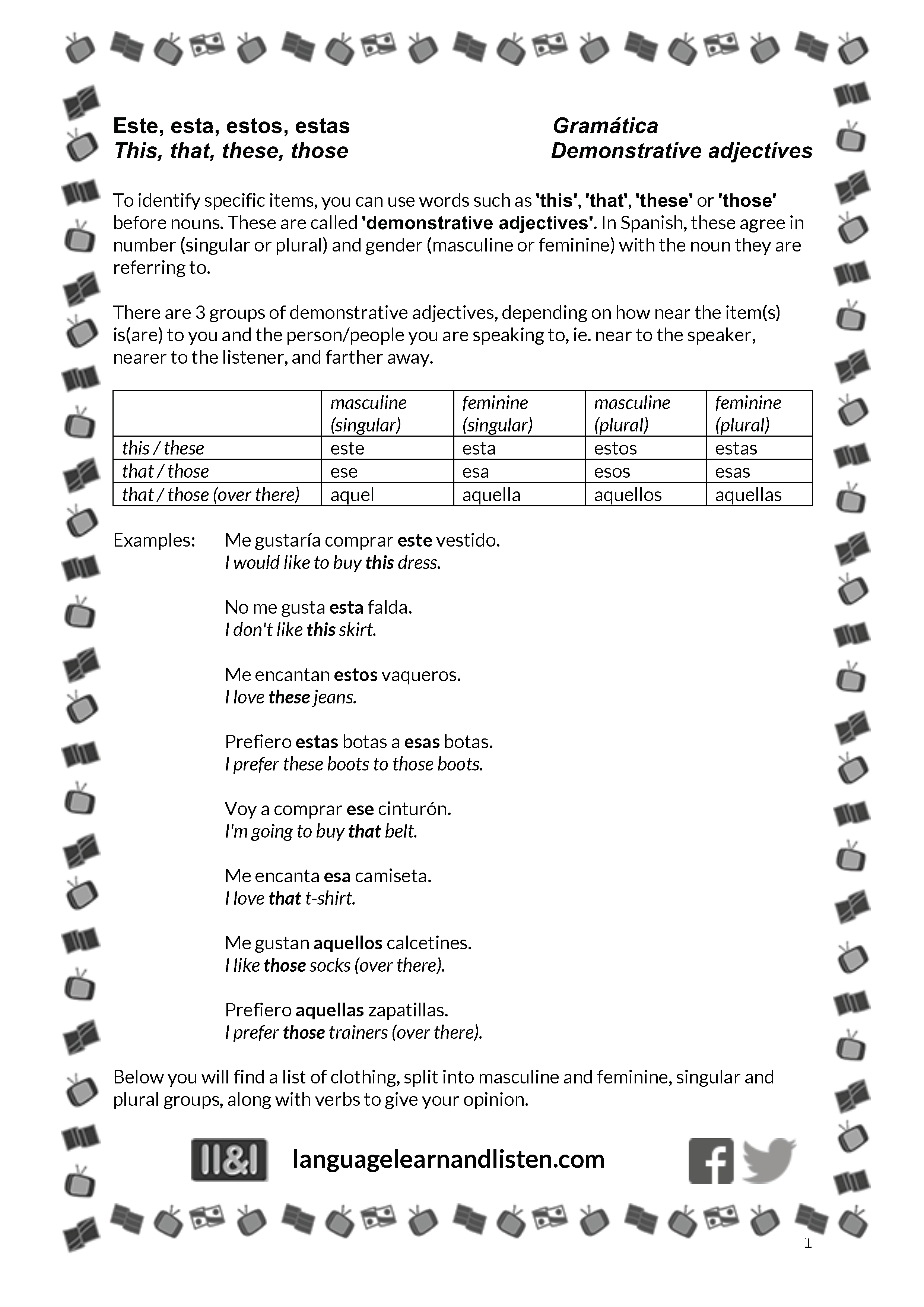 Spanish - Demonstrative adjectives with opinions and clothes Throughout Demonstrative Adjectives Spanish Worksheet