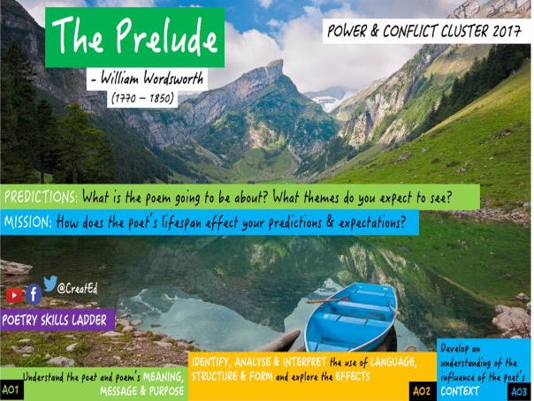 The Prelude, William Wordsworth, GCSE Poetry Conflict Cluster 2017 (AQA, OCR & Edexcel Anthologies)