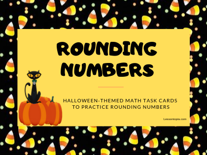Halloween Themed Rounding Numbers Math Task Cards