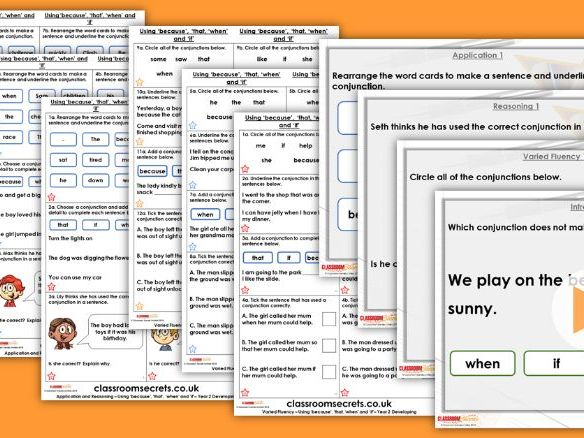 Grammar Year 2 Using 'Because', 'That', 'When' and 'If' Autumn Block 2 Step 6 Lesson Pack