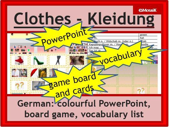 German clothes, die Kleidung: dice activity: describe pictures, practise speaking