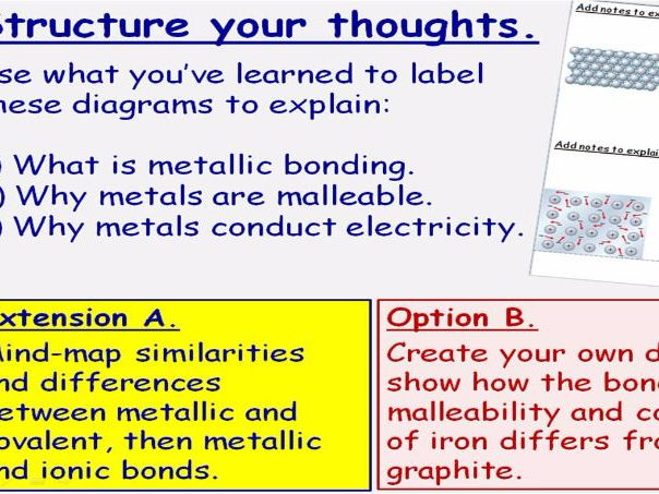 GCSE Chemistry Metallic Bonding and Properties of Metals Lesson Powerpoint (Edexcel 9-1 SC7c CC7c)