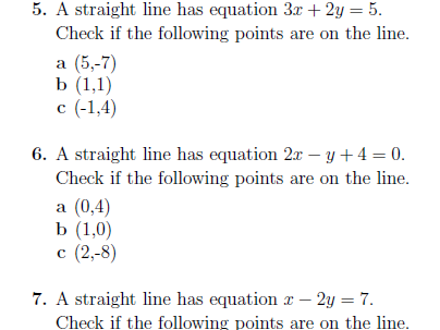 Points on a straight line worksheet (with solutions)