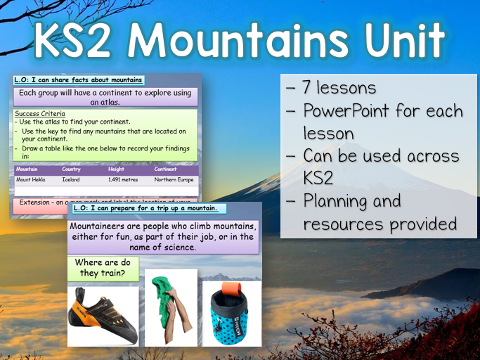 KS2 Mountains Geography Unit - 7 lessons