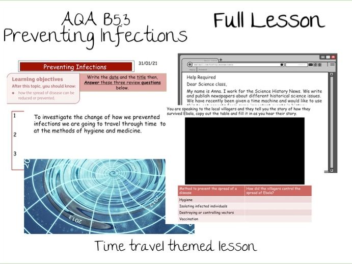 B5.3 Preventing Infection AQA 9-1 Lesson- No Prep, Time travel themed lesson