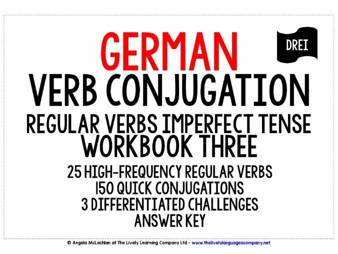 GERMAN REGULAR VERBS CONJUGATION - IMPERFECT TENSE WORKBOOK & ANSWER KEY