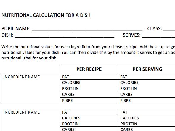 Nutritional Values Calculation Handout - GCSE & KS3 Food & Nutrition Technology