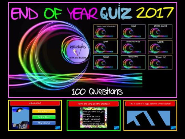 Bumper 100 Question End of Year Quiz 2017 - Highly Visual, Interactive and Fun!