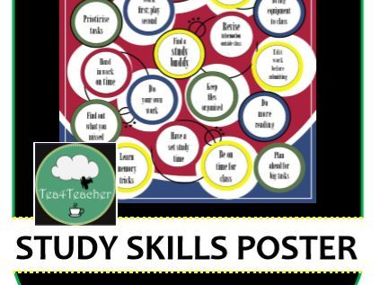 Study Skills Poster Secondary School Homework and Study Skills for Success Display