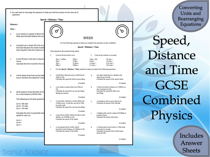 GCSE Physics Paper 1 -Speed, Distance and Time Worksheet with Answers