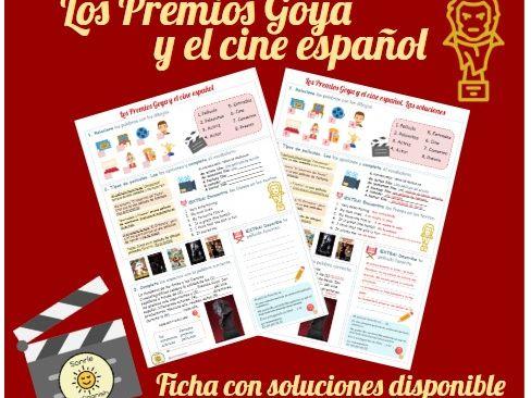 Worksheet cine español y las películas Los Goya - Cinema and TV, film and TV. Answers included.