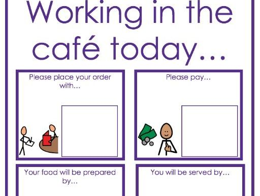 Cafe and kitchen visual supports- independence, self help, work experience, role play