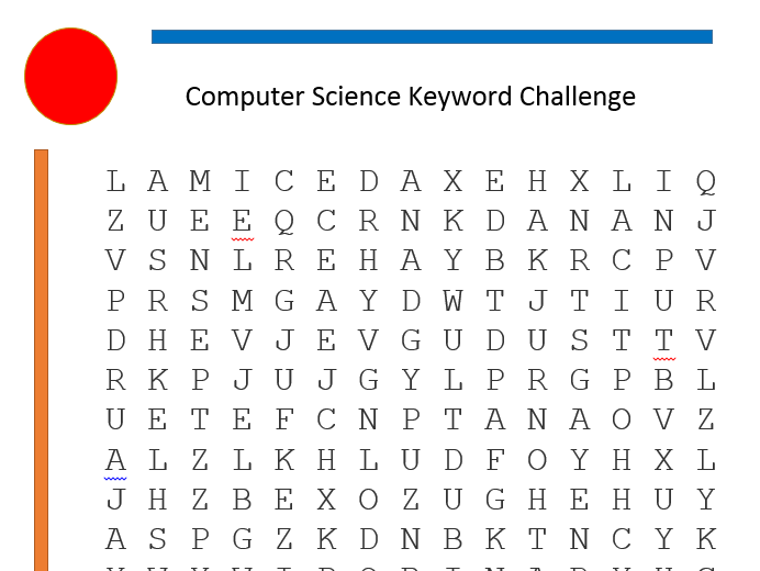 Computer Science Keyword Wordsearch using clues
