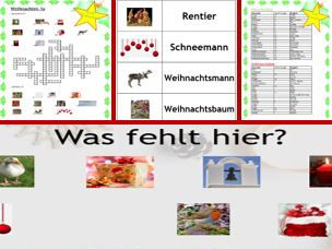German Christmas: colourful presentation, sequencing cards and a differentiated crossword puzzle