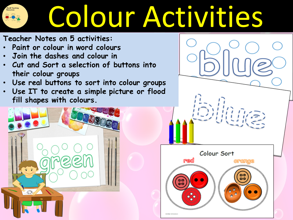 Colours Activities/Tasks and Sorting into Colour Groups, Cut/Paste, IT Link - EYFS/Reception/Yr1/SEN