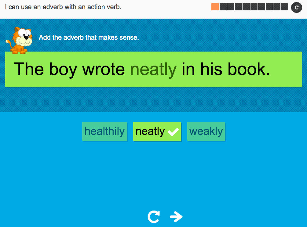 I can use an adverb with an action verb - Interactive Activity - Year 2 Spag