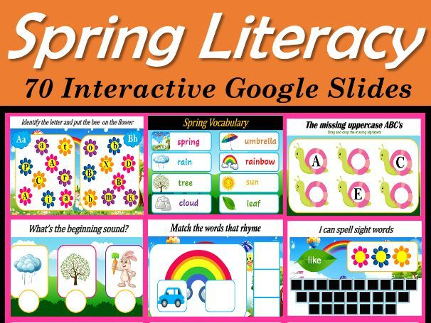 Spring Literacy Activities | Virtual| Distance Learning- 75 Google Slides