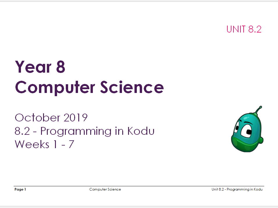 Complete Computer Science KS3 SOW: Programming in Kodu
