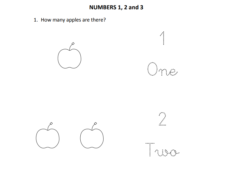 Written numbers 1 to 3 for Reception and Year 1 students