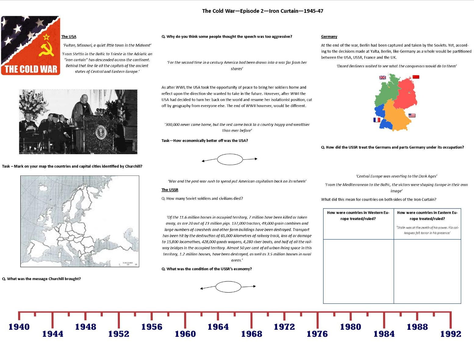 Cold War TV Series Ep 2 Iron Curtain Supporting Worksheet by