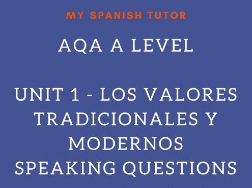 AQA AS LEVEL SPANISH UNIT 1 - LOS VALORES TRADICIONALES Y MODERNOS  SPEAKING QUESTIONS