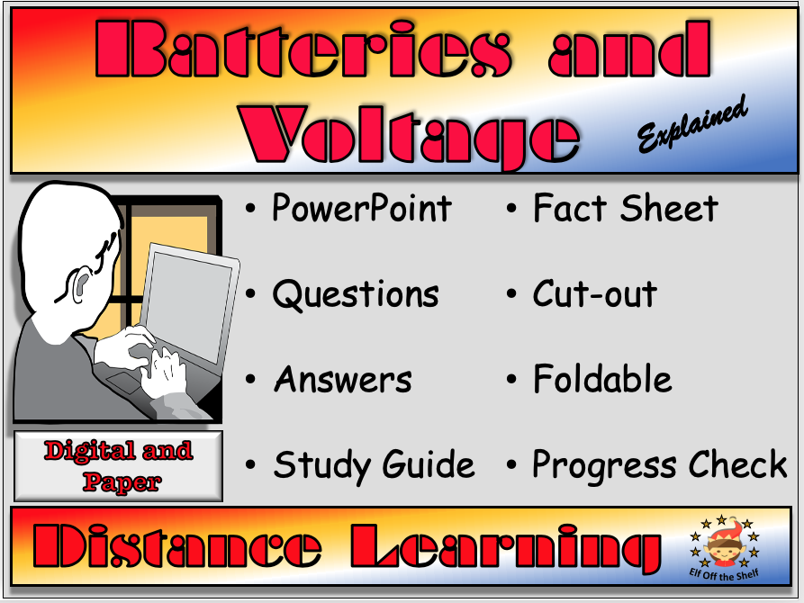 Current Electricity - Batteries and Voltage DistanceLearning or Home Learning for KS3