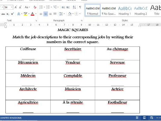 Magic Squares activity- French jobs and occupations