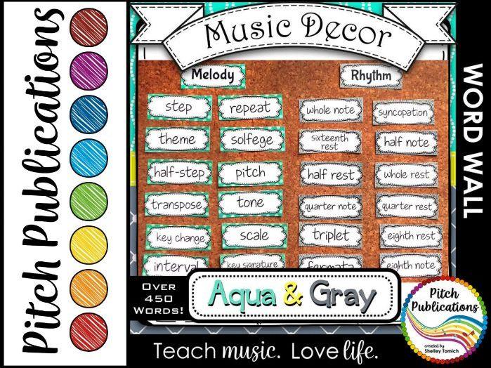 Music Decor - AQUA AND GRAY - Word Wall