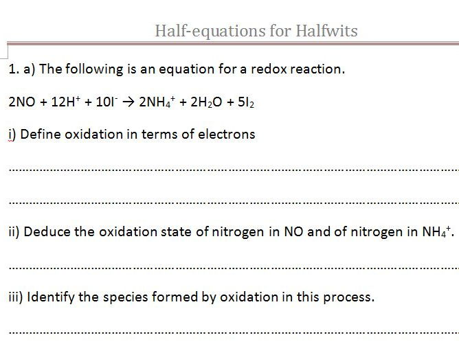 Redox Oxidation Numbers Half Equations And Ionic Equations By