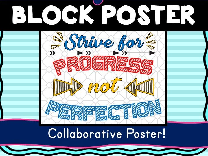 Growth Mindset Collaborative Poster! Team Work - Strive for Progress