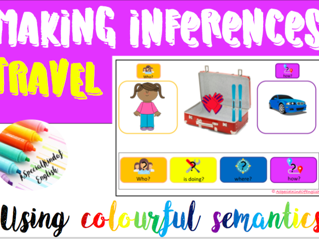 Inferences, reading, comprehension - Travel using colourful semantics