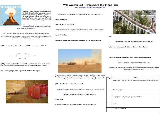 Richard Hammond -Wild Weather - Ep3 - Temperature: The Driving Force - Worksheet