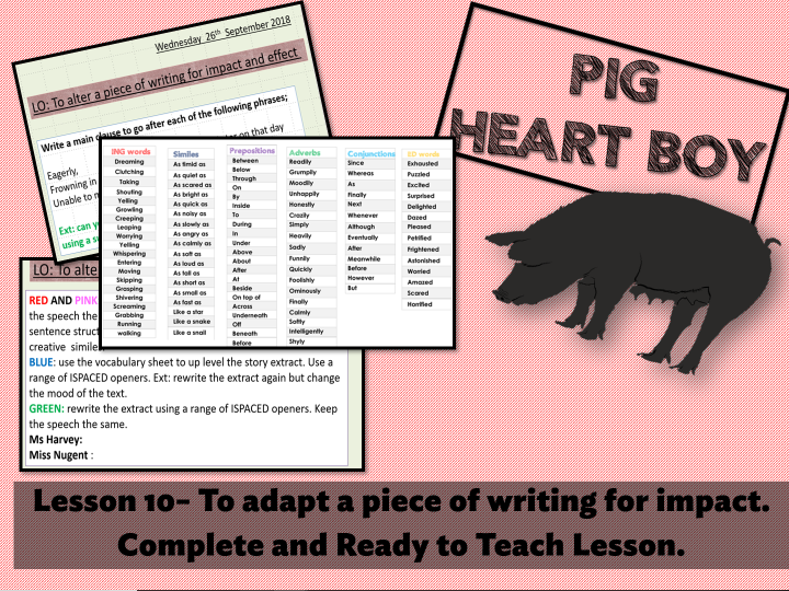 Pig Heart Boy Year 6 Lesson 10 To Adapt A Piece Of Writing For Impact Teaching Resources