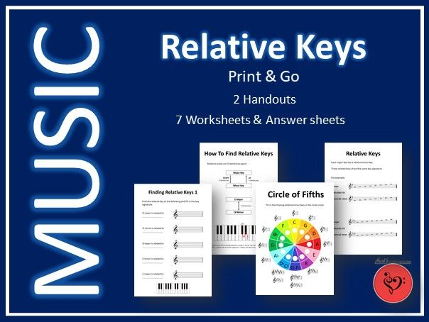 Relative Keys in Music - Print & Go Handouts and Worksheets