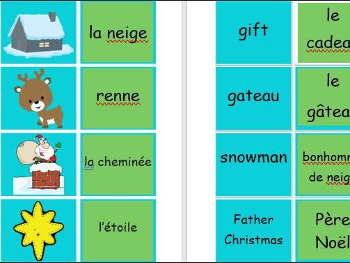 Christmas Flashcards in French and English