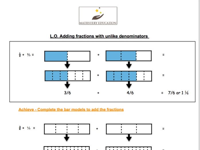 bar modelling adding fractions with unlike denominators by mathsteryeducation teaching resources. Black Bedroom Furniture Sets. Home Design Ideas