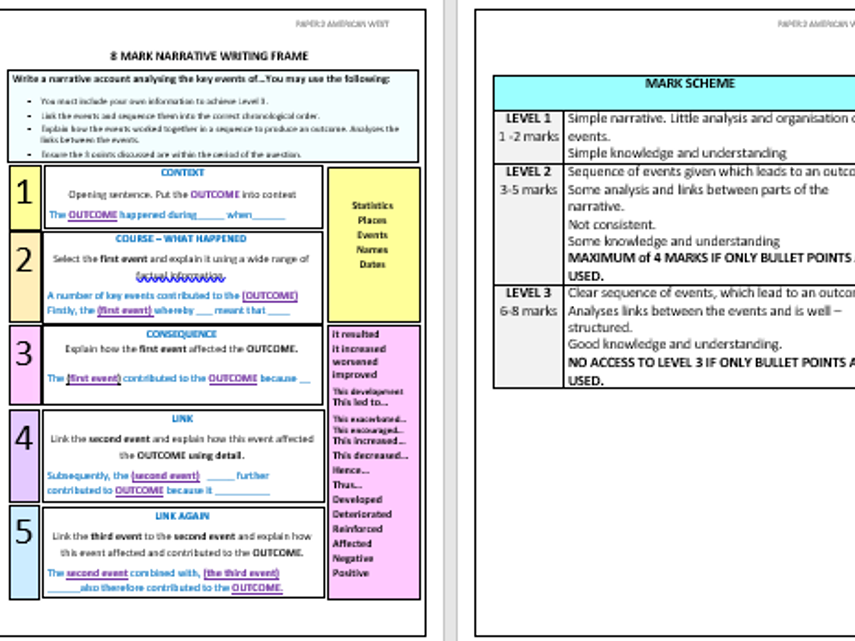 Paper 2 American West exam question writing frames - lower ability