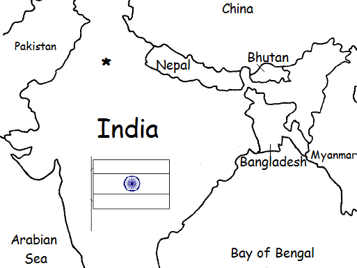 India - Printable handout with map and flag