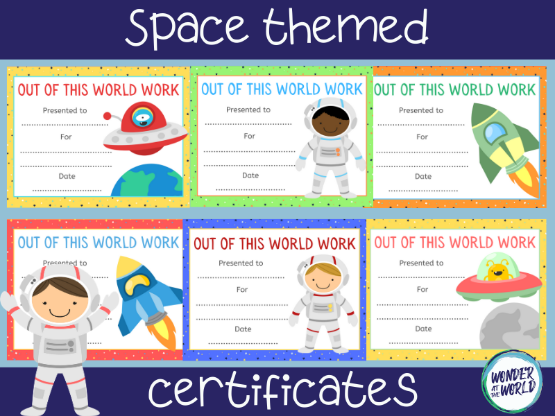 Outer space themed reward certificates to print or use online