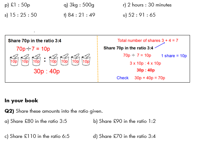 Ratio - simplifying and sharing an amount