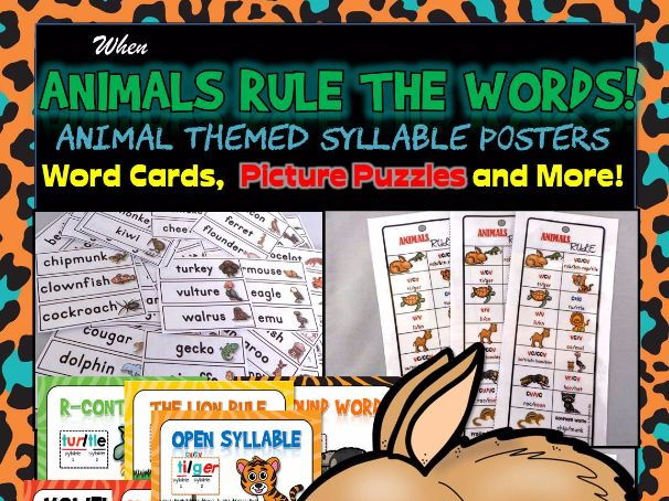 Syllable Posters, Puzzles, Word Cards and More!