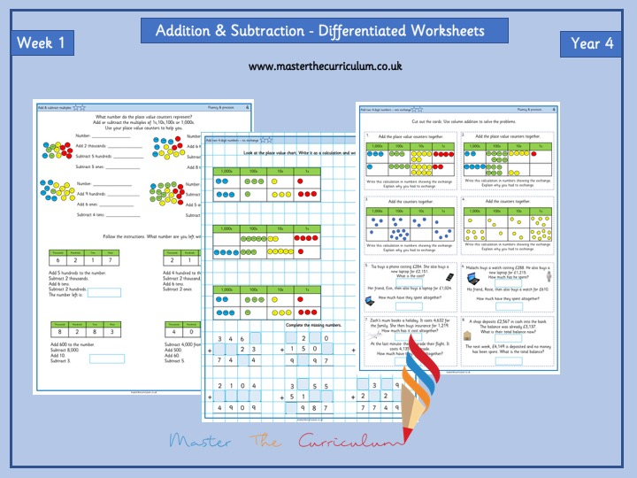 Year 4- Week 1 - Addition and Subtraction Differentiated Worksheets- White Rose Style