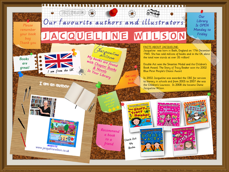 Library Poster - Jacqueline Wilson UK Author Picture Chapter Books Novels