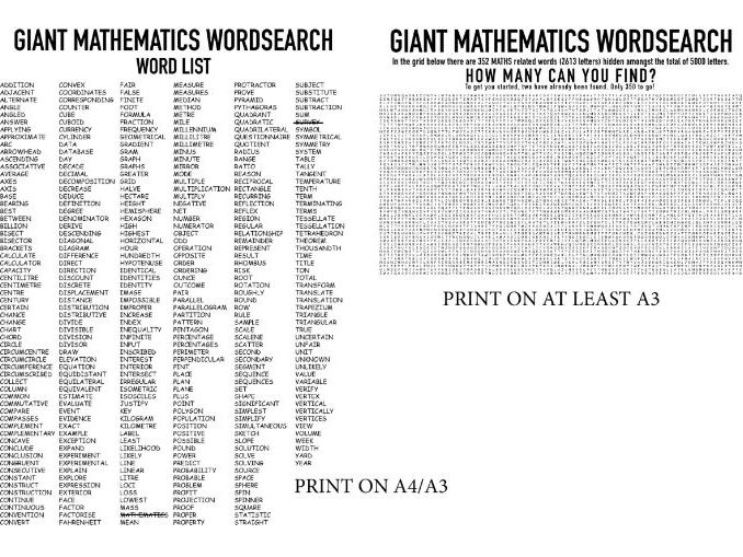 GIANT MATHEMATICS WORDSEARCH - Find 352 maths related words ( KS3 Vocab. list)